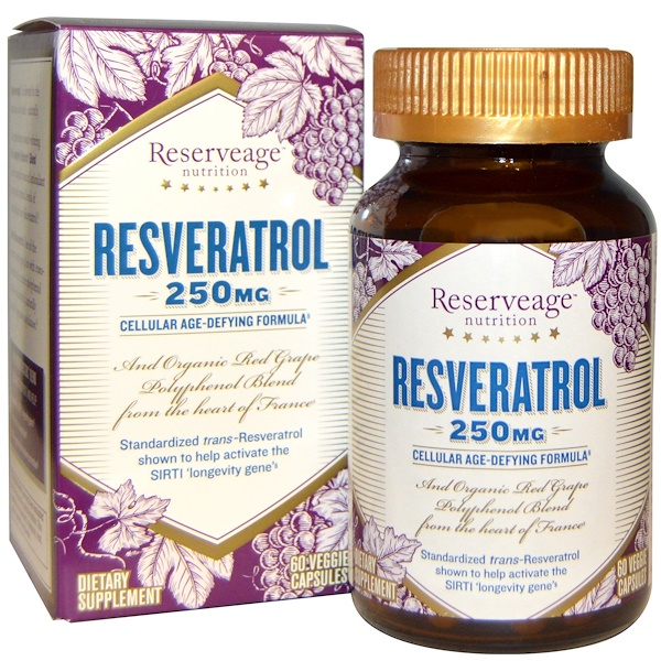 ReserveAge Nutrition, Resveratrol, Cellular Age-Defying Formula, 250 mg, 60 Veggie Caps