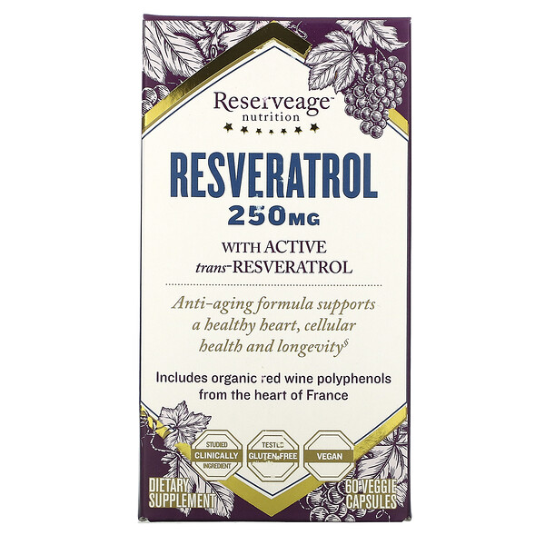 Resveratrol, 250 mg, 60 Veggie Capsules