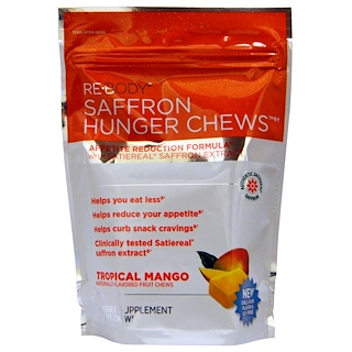 Rebody Safslim, Saffron Hunger Chews, Mango Tropical, 30 Tabletas Masticables