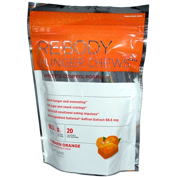 Rebody Safslim, Hunger Chews, Appetite Control Formula, Mandarin Orange, 30 Soft Chews (Discontinued Item)