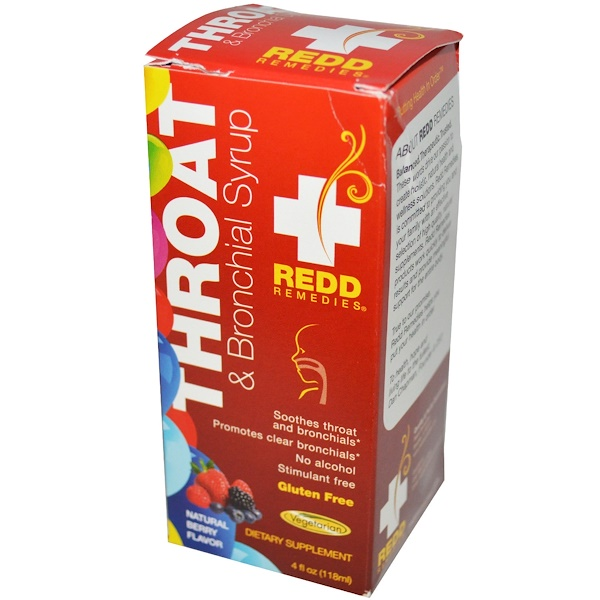 Redd Remedies, Throat & Bronchial Syrup, Natural Berry Flavor, 4 fl oz (118 ml) (Discontinued Item)