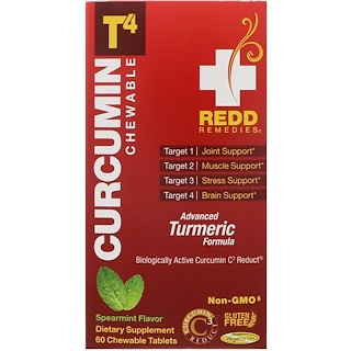 Redd Remedies, Curcumin T4, Spearmint, 60 Chewable Tablets