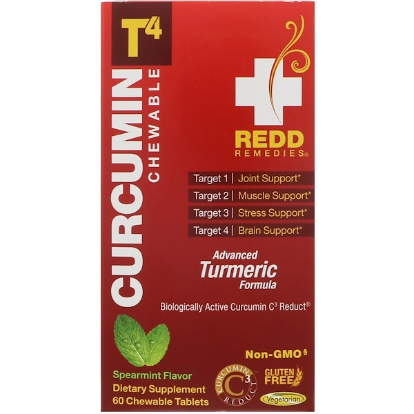 Redd Remedies, Curcumin T4, Spearmint, 60 Chewable Tablets (Discontinued Item)