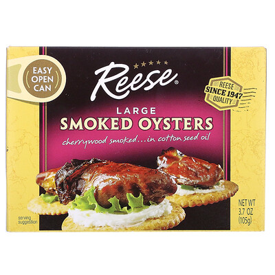 Купить Reese Large Smoked Oysters, 3.70 oz (105 g)