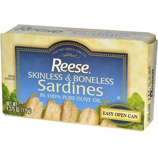 Reese, Gehäutete und entgrätete Sardinen in 100% reinem Olivenöl, 4,375 oz (125 g)