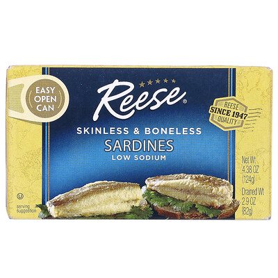 Reese Skinless & Boneless Sardines in Water, 4.375 oz (125 g)  - купить со скидкой
