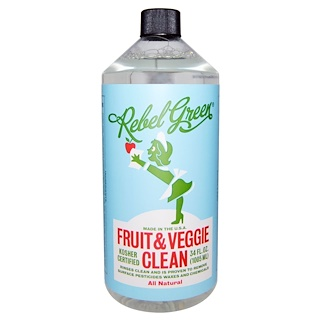 Rebel Green, Limpieza de frutas y vegetales, completamente natural, 34 fl oz (1005 ml)