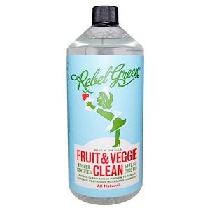 Rebel Green, Натуральное средство для очищения фруктов и овощей, 34 жидких унций (1005 мл)