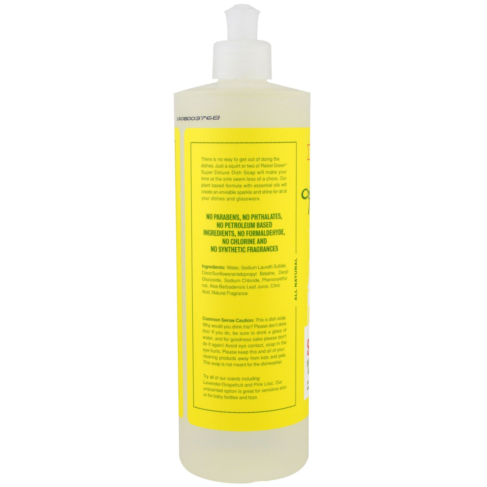Rebel Green, Super Deluxe Dish Soap, Peppermint and Lemon