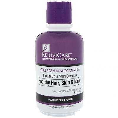 Rejuvicare Collagen Beauty Formula, жидкий коллагеновый комплекс для здоровья волос, кожи и ногтей со вкусом винограда, 480мл (16жидк. унций)