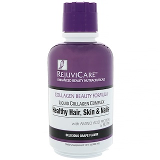 Rejuvicare, Collagen Beauty Formula, Liquid Collagen Complex, Healthy Hair, Skin & Nails, Delicious Grape Flavor, 16 fl oz (480 ml)