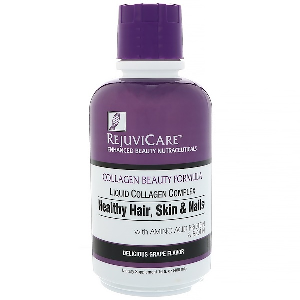 Rejuvicare, Collagen Beauty Formula, Liquid Collagen Complex, Healthy Hair, Skin & Nails, Grape, 16 fl oz (480 ml)