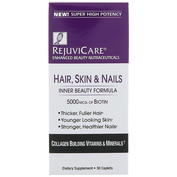 Rejuvicare, Hair, Skin & Nails, Inner Beauty Formula, 5000 mcg of Biotin, 30 Caples