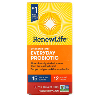 Renew Life, Ultimate Flora, Everyday Probiotic, 15 Billion Live Cultures, 30 Vegetarian Capsules