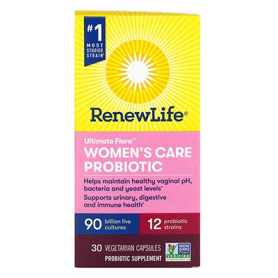 Renew Life Ultimate Flora, Women's Care Probiotic, 90 Billion Live Cultures, 30 Vegetarian Capsules