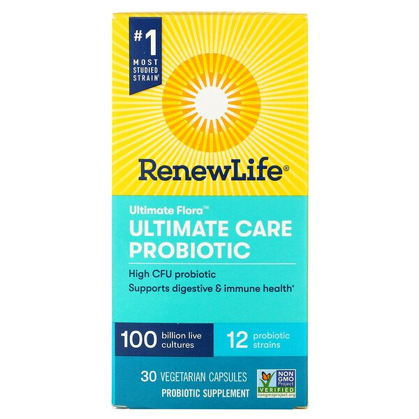 Renew Life, Ultimate Flora, Ultimate Care Probiotic, 100 Billion Live Cultures, 30 Vegetarian Capsules