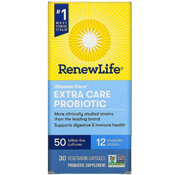 Extra Care, Ultimate Flora пробиотик с повышенной силой действия, 50млрд живых культур, 30вегетарианских капсул