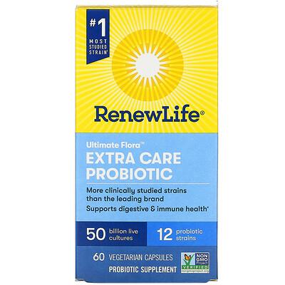 Renew Life Extra Care, Ultimate Flora Probiotic, 50 Billion Live Cultures, 60 Vegetarian Capsules
