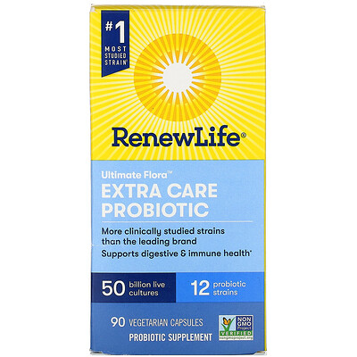 Renew Life Extra Care, Ultimate Flora Probiotic, 50 Billion Live Cultures, 90 Vegetarian Capsules