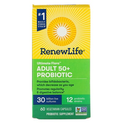 Renew Life Ultimate Flora, Adult 50+ Probiotic, 30 Billion Live Cultures, 60 Vegetarian Capsules