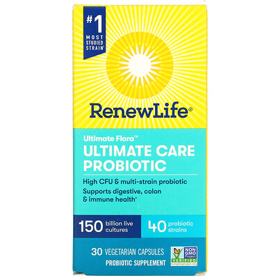 Renew Life Ultimate Flora, Ultimate Care Probiotic, 150 Billion Live Cultures, 30 Vegetarian Capsules