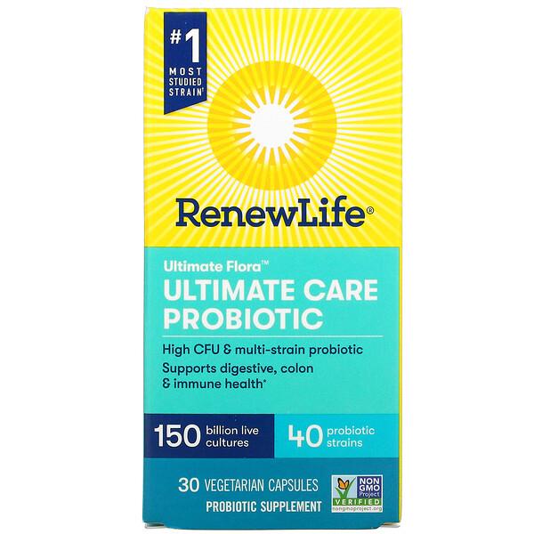 Ultimate Flora, Ultimate Care Probiotic, 150 Billion Live Cultures, 30 Vegetarian Capsules