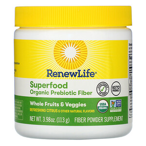 Renew Life, Superfood Organic Prebiotic Fiber, Refreshing Citrus, 3.98 oz (113 g)