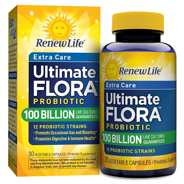 Renew Life, Extra Care, Ultimate Flora Probiotic, 100 Billion Live Cultures, 30 Vegetable Capsules