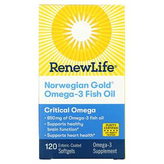 Renew Life, Norwegian Gold Omega-3 Fish Oil, 850 mg, 120 Enteric-Coated Softgels