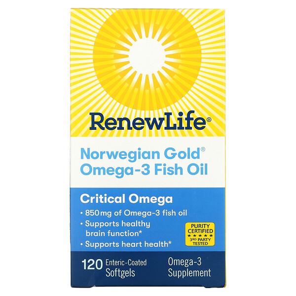 Norwegian Gold Omega-3 Fish Oil, 850 mg, 120 Enteric-Coated Softgels