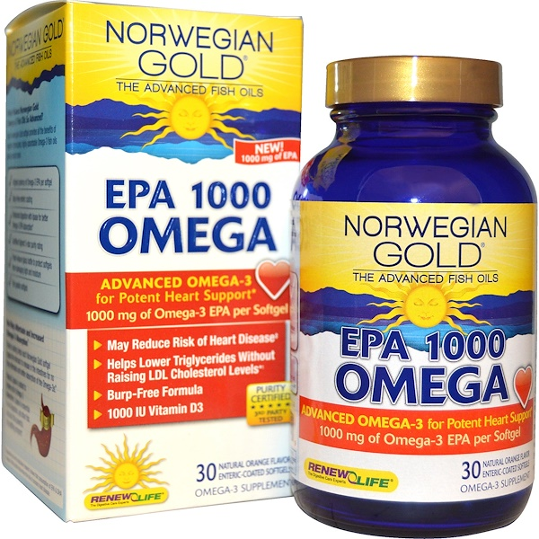 Renew Life, Norwegian Gold, EPA 1000 Omega, Orange Flavor, 1000 mg, 30 Enteric-Coated Softgels (Discontinued Item)