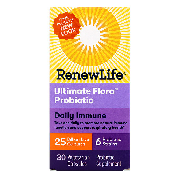 Renew Life, Ultimate Flora Probiotic, Daily Immune, 25 Billion Live Cultures, 30 Vegetarian Capsules (Discontinued Item)