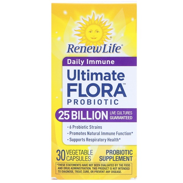 Renew Life, Ultimate Flora Probiotic, Daily Immune, 25 миллиардов живых культур, 30 вегетарианских капсул