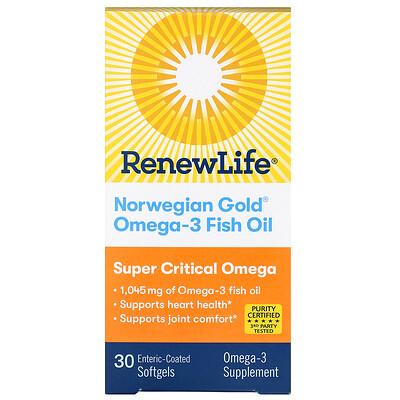 Купить Renew Life Norwegian Gold Omega-3 Fish Oil, 1, 045 mg, 30 Enteric-Coated Softgels