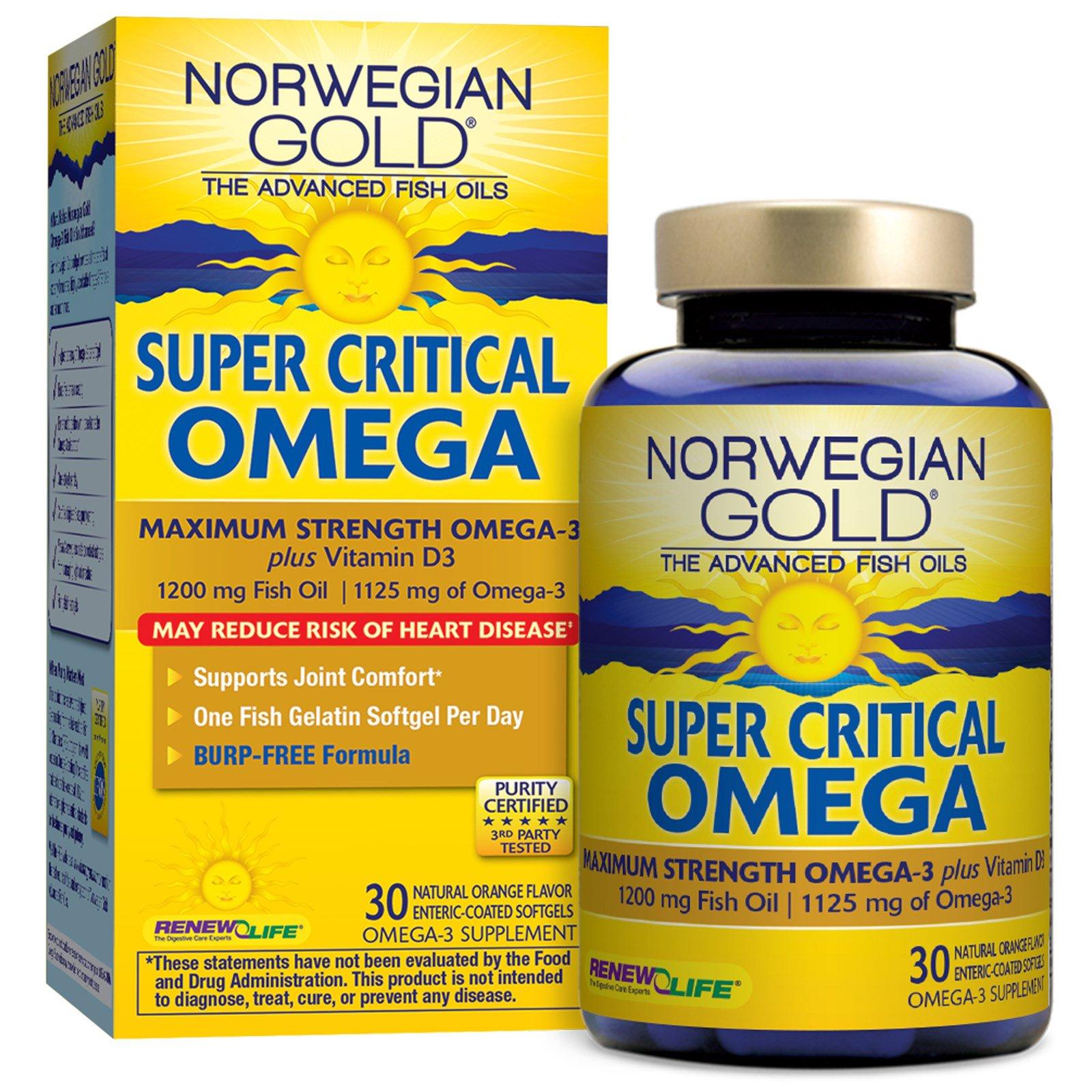 Renew Life, Суперкритическая Омега, апельсиновый вкус, 30 мягких желатиновых капсул с кишечнорастворимым покрытием
