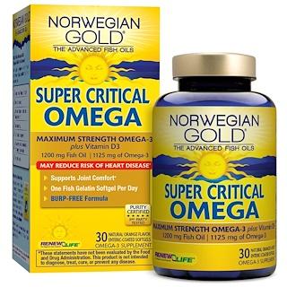 Renew Life, Super Critical Omega, Orange Flavor, 30 Enteric-Coated Softgels
