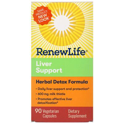 Renew Life Extra Care, поддержка печени, растительный препарат для детоксикации, 90 растительных капсул