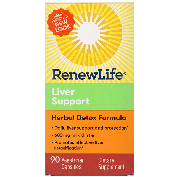 Renew Life, Liver Support, Herbal Detox Formula, 90 Vegetarian Capsules