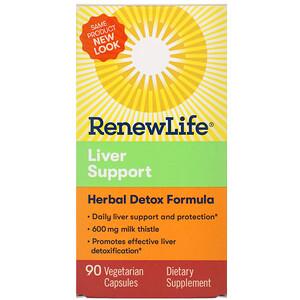 Ренев Лифе, Liver Support, Herbal Detox Formula, 90 Vegetarian Capsules отзывы покупателей