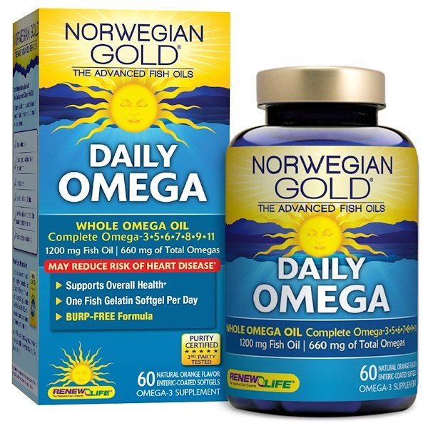 Renew Life, Daily Omega, Natural Orange Flavor, 60 Enteric-Coated Softgels