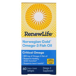 Renew Life, Critical Omega, ультраконцентрат омега кислот, натуральный вкус апельсина, 60 мягких таблеток, покрытых кишечнорастворимой оболочкой
