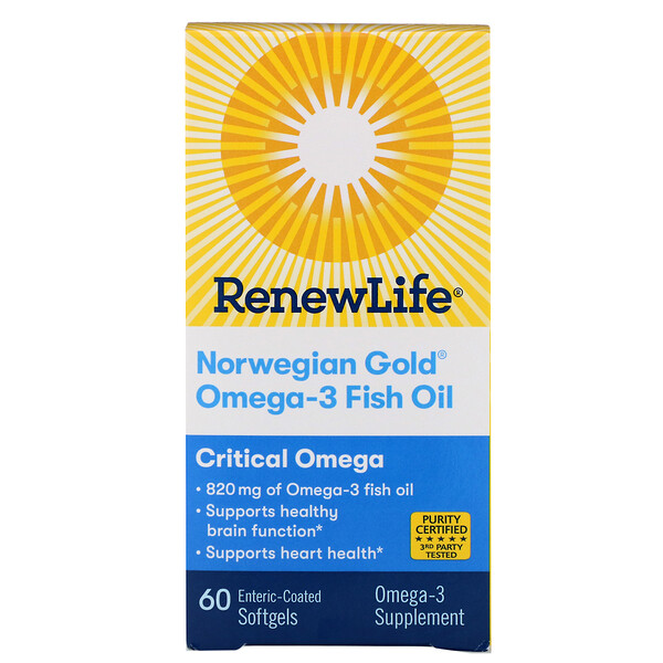 Renew Life, Critical Omega, Norwegian Gold Omega-3 Fish Oil, 60 Enteric-Coated Softgels