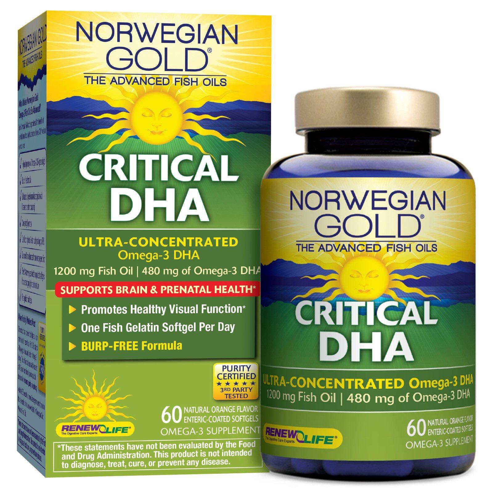 Renew Life, Критическая ДНК, натуральный апельсиновый вкус, 60 мягких желатиновых капсул с кишечнорастворимым покрытием