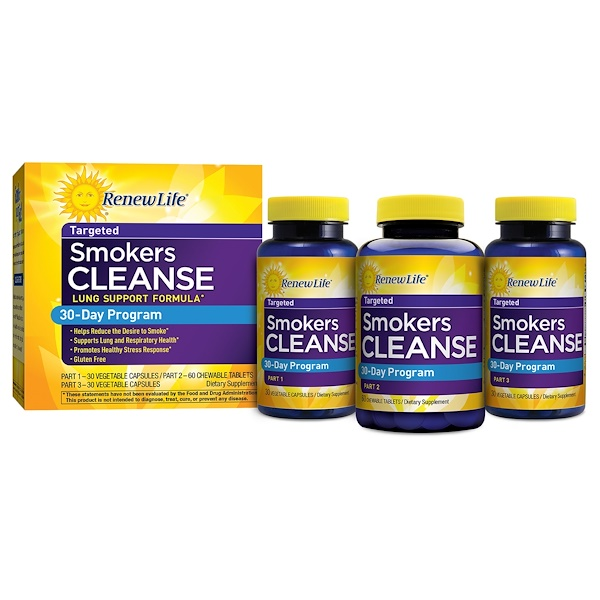 Renew Life, Targeted, Smokers Cleanse, Lung Support Formula, 30 Day Program, 3-Part Program (Discontinued Item)
