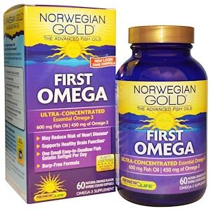 Ренев Лифе, Norwegian Gold Fish Oils, First Omega, 600 mg, Natural Orange Flavor, 60 Enteric-Coated Softgels отзывы
