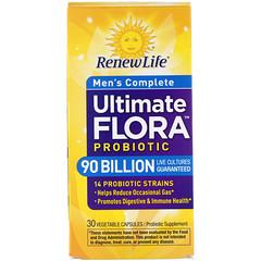 Renew Life, Комплексное обеспечение здоровой флоры мужского организма, 90 млрд. живых культур, 30 вегетарианских капсул
