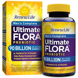 Renew Life, Men's Complete, Ultimate Flora Probiotic, 90 Billion Live Cultures, 30 Vegetable Capsules