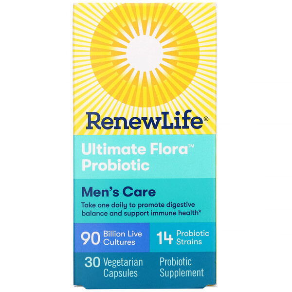 Renew Life, Ultimate Flora Probiotic, Men's Care, 90 Billion Live Cultures, 30 Vegetarian Capsules