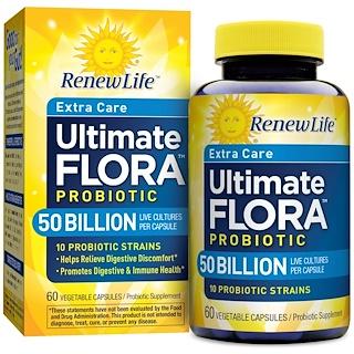 Renew Life, エクストラケア、アルティメットフローラプロバイオティクス、500億の生きた菌、60植物性カプセル