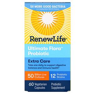 Ренев Лифе, Extra Care, Ultimate Flora Probiotic, 50 Billion Live Cultures, 60 Vegetarian Capsules отзывы покупателей